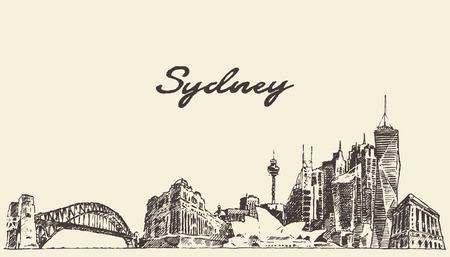 Sydney skyline vintage engraved illustration hand drawn sketch