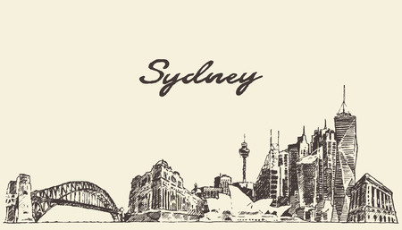 australia landscape: Sydney skyline vintage engraved illustration hand drawn sketch