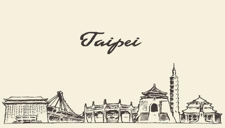 Skyline di Taipei annata illustrazione vettoriale inciso schizzo disegnato a mano