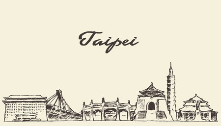 ink: Taipei skyline vintage vector engraved illustration hand drawn sketch