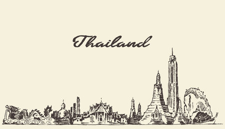 タイ ビンテージ ベクトルの刻まれたイラスト手描きのスケッチのスカイライン  イラスト・ベクター素材