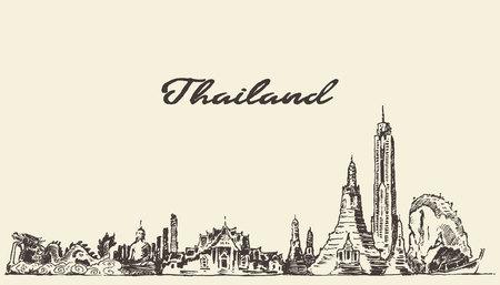 Skyline of Thailand vintage vector engraved illustration hand drawn sketch
