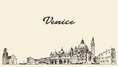 european: Venice skyline vintage vector engraved illustration hand drawn sketch