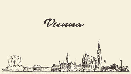 Vienna skyline Austria vintage vector engraved illustration hand drawn sketch Vectores