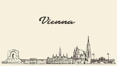 Vienna skyline Austria vintage vector engraved illustration hand drawn sketch Vettoriali