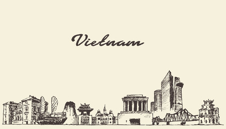 Vietnam skyline vintage vector engraved illustration hand drawn sketch
