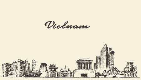 chi: Vietnam skyline vintage vector engraved illustration hand drawn sketch