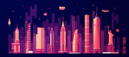 new york skyline: New York city skyline vector illustration flat style