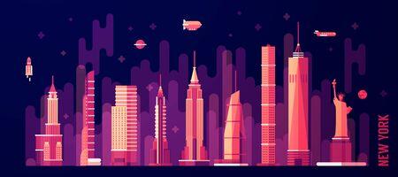 New York city skyline vector illustration flat style