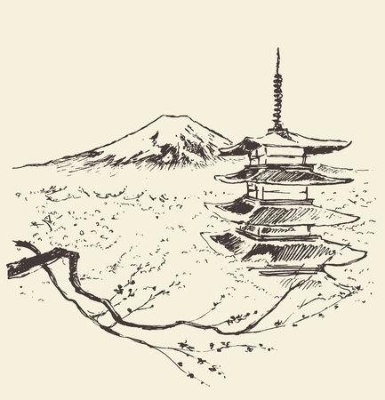 Ilustración de la montaña Fuji con pagoda y flores de cerezo Foto de archivo - 60634692