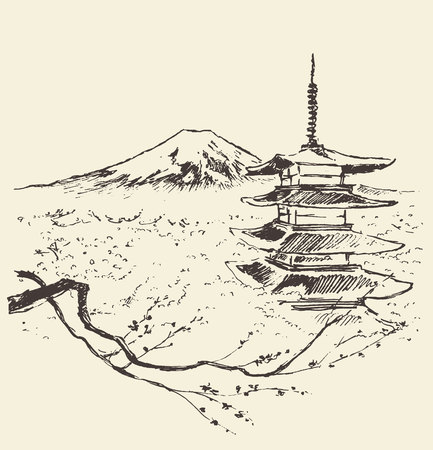 Illustration of Fuji mountain with pagoda and cherry blossoms Illustration