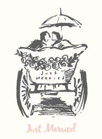 Hand drawn bride and groom in carriage vector illustration sketch