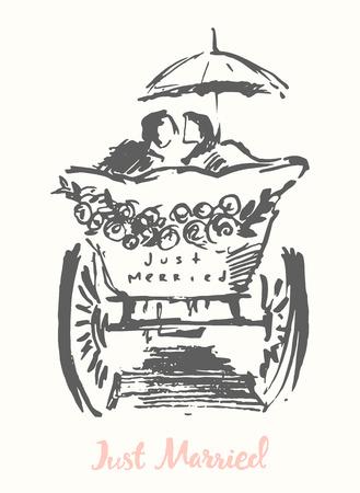 Tiré par la main mariée et le marié en calèche illustration croquis