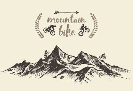 bicyclists: Bicyclists riding in mountains, hand drawn mountain bike poster, vector illustration