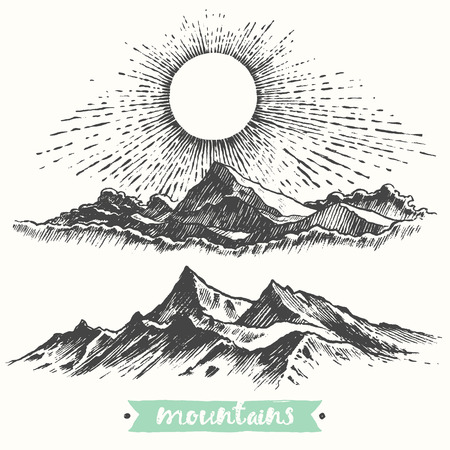 retro sunrise: Sketch of a mountains, sunrise in mountains, engraving style, hand drawn vector illustration Illustration