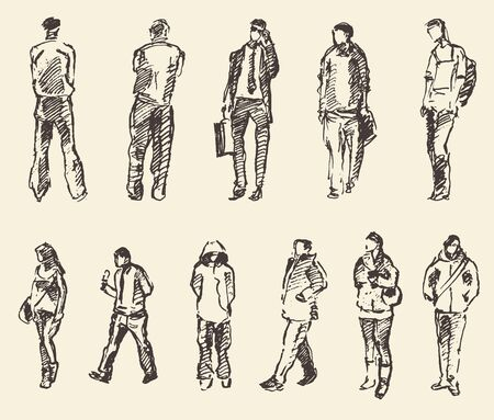 draw a sketch: Sketch of people vector Illustration hand drawing draw Illustration