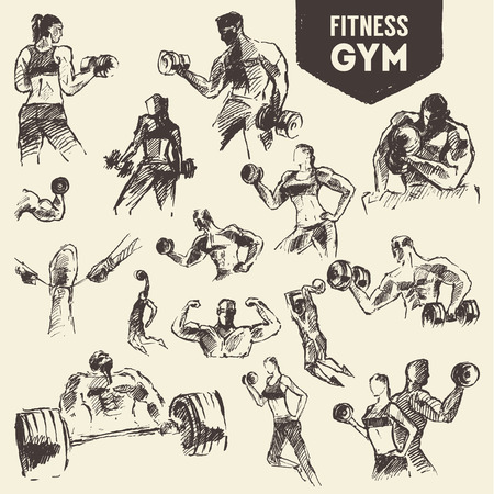 strong men: Big set of hand drawn people exercising for health and fitness