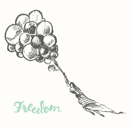 freedom woman: Hand drawn illustration of young girl with balloons. Openness, happiness, freedom concept. Vector illustration, sketch Illustration