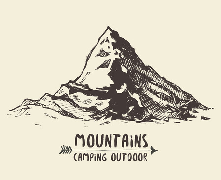 alps: Mountains sketch contours engraving hand drawn vector Illustration