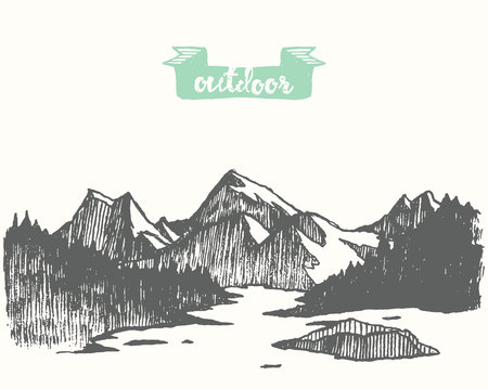 Beautiful hand drawn mountain landscape with pine forest, meadow and lake, vintage vector illustration