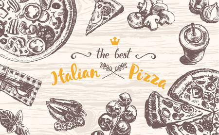drawing table: Hand drawn vector illustration of an Italian pizza theme products on a wooden table top, sketch Illustration