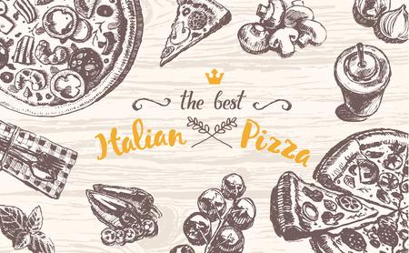 zeichnen: Hand gezeichnete Vektor-Illustration eines italienischen Pizza Thema Produkte auf einem hölzernen Tischplatte, Skizze