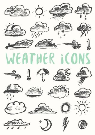 pencil drawing: Set of weather icons, hand drawn style, on white background. Vector illustration Illustration