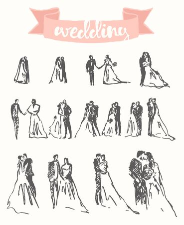 ink sketch: Hand drawn set of happy bride and groom, vector illustration, sketch
