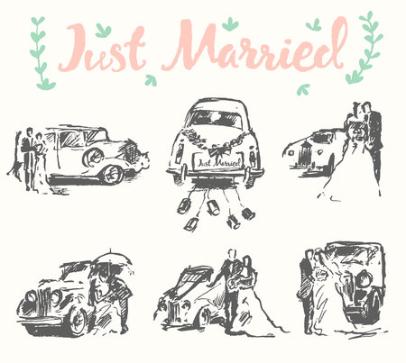 old fashioned car: Hand drawn set of bride and groom with old fashioned car, vector illustration, sketch
