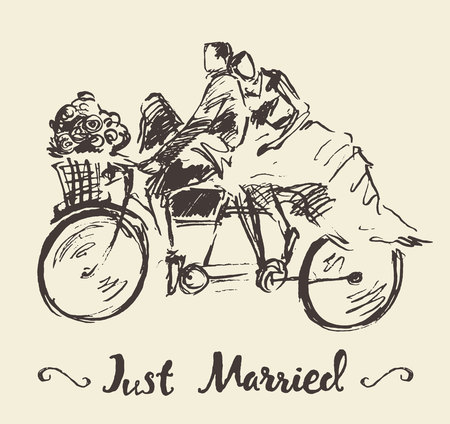 tandem bicycle: Hand drawn happy bride and groom riding bicycle, vector illustration, sketch Illustration