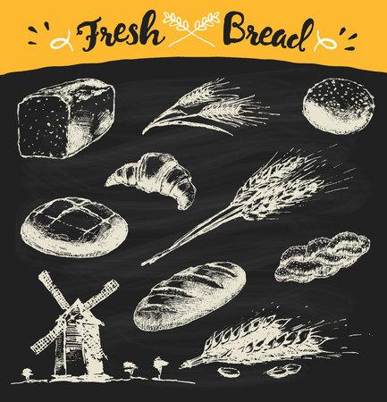 grain fields: Set of fresh bread. Hand drawn illustration of bread long loaf baguette croissant wheat wind mill. Vector vintage sketch