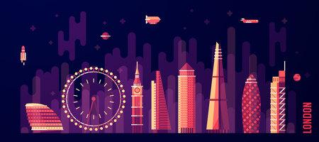 gherkin building: London England city skyline vector illustration flat style