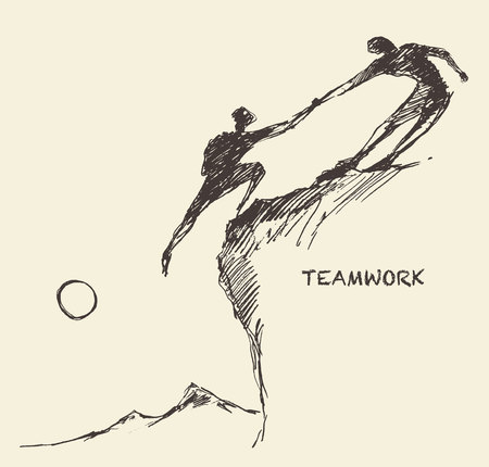 Hand drawn vector illustration d'un homme aidant un autre homme à grimper croquis. concept de partenariat de travail d'équipe. Vector illustration croquis