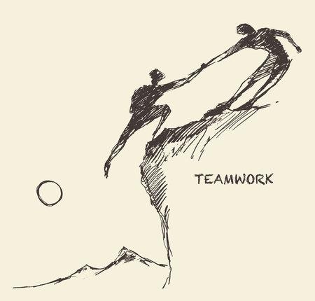 surmount: Hand drawn vector illustration of a man helping another man to climb sketch. Teamwork partnership concept. Vector illustration sketch Illustration