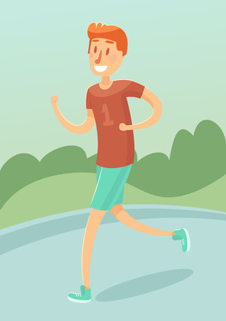 jogging in nature: Young man running outdoors friendly male character vector illustration flat style