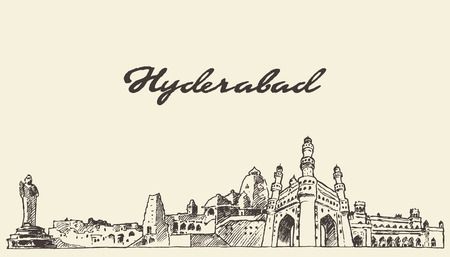 Hyderabad skyline vector engraved illustration hand drawn sketch Illustration