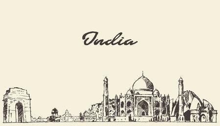 インド スカイライン ベクトル刻まれたイラスト手描きのスケッチ