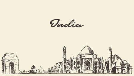 new delhi: India skyline vector engraved illustration hand drawn sketch