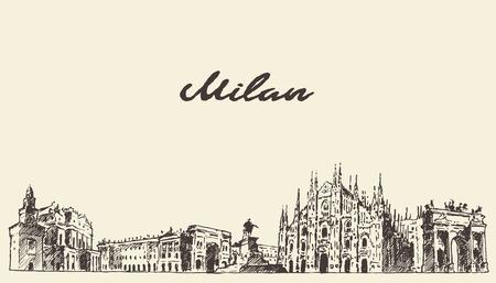 Milan skyline Italy vector engraved illustration hand drawn sketch 일러스트