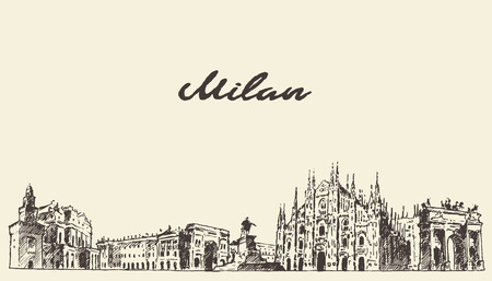 Milan skyline Italy vector engraved illustration hand drawn sketch Vettoriali