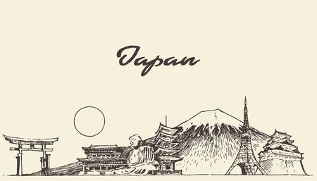 Japan skyline vector engraved illustration hand drawn sketch