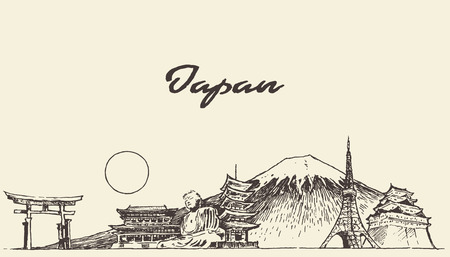 Japan skyline vector engraved illustration hand drawn sketch
