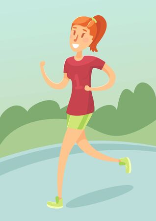 female girl: Young girl running outdoors friendly female character vector illustration flat style