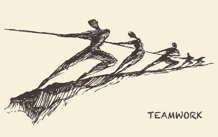 Hand drawn vector illustration of a team, pulling line, sketch. Teamwork, partnership concept. Vector illustration, sketch