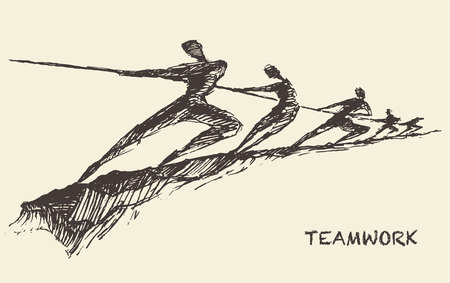tug war: Hand drawn vector illustration of a team, pulling line, sketch. Teamwork, partnership concept. Vector illustration, sketch