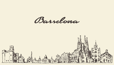 Barcellona Spagna Paesaggio vintage illustrazione inciso disegnata a mano abbozzo Vettoriali