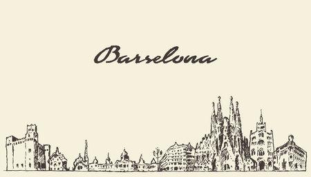 barcelona: Barcelona landscape Spain vintage engraved illustration hand drawn sketch