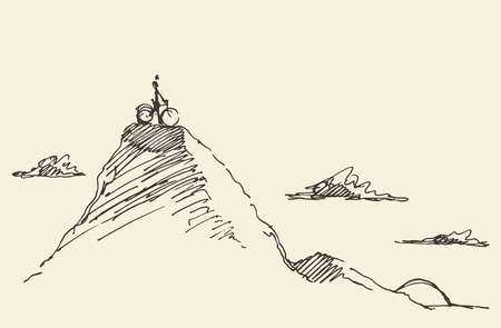 Sketch of a rider with a bicycle, standing on top of a hill. Vector illustration Stock Illustratie