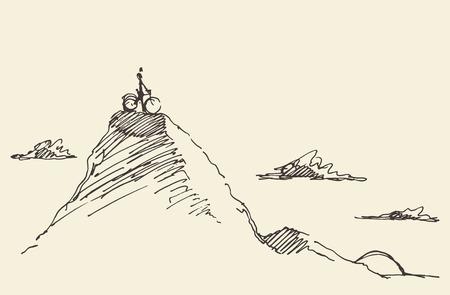 Szkic jeźdźca z rowerem, stojąc na szczycie wzgórza. Ilustracji wektorowych Ilustracje wektorowe