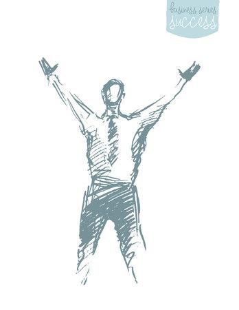 lijntekening: Hand getrokken vector illustratie van een succesvol zakenman met een verhoging van de armen. Winnaar, leiderschap. Concept, schets